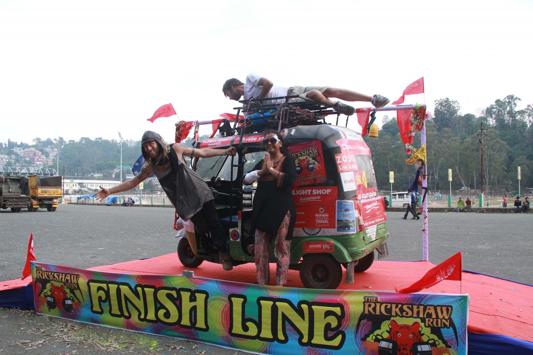 Rutavi and her team at the finish line