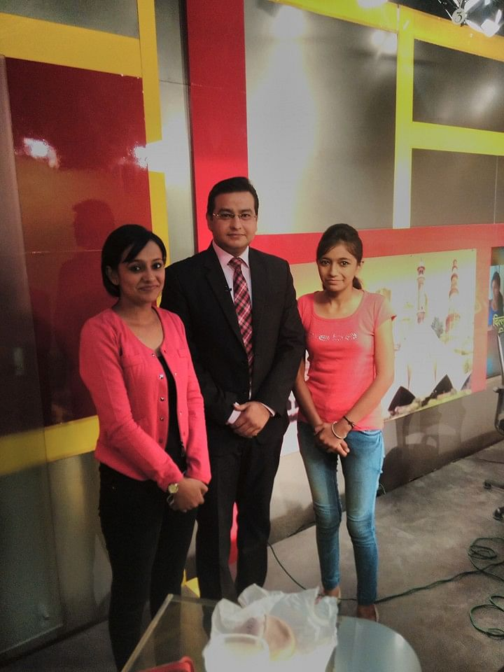 Surbhi and Simran at a TV news channel office.