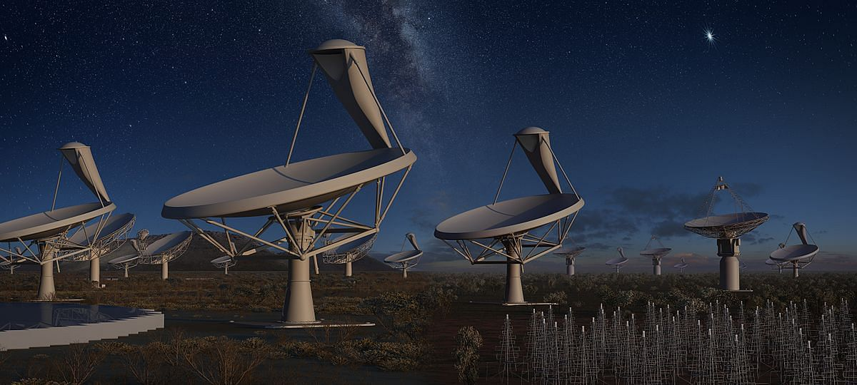 Artist impression of all four SKA instruments at night under one sky