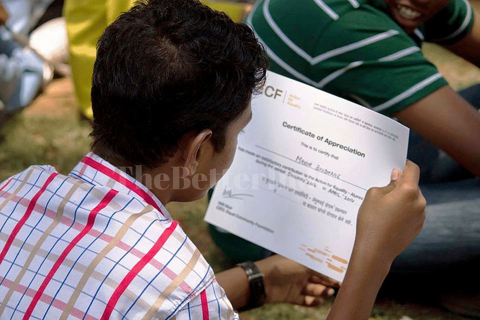 Participant of Action for Equality Programme receives an appreciation certificate