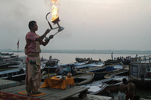 The early morning Aarti for Mother Ganges - a river considered to be very pious