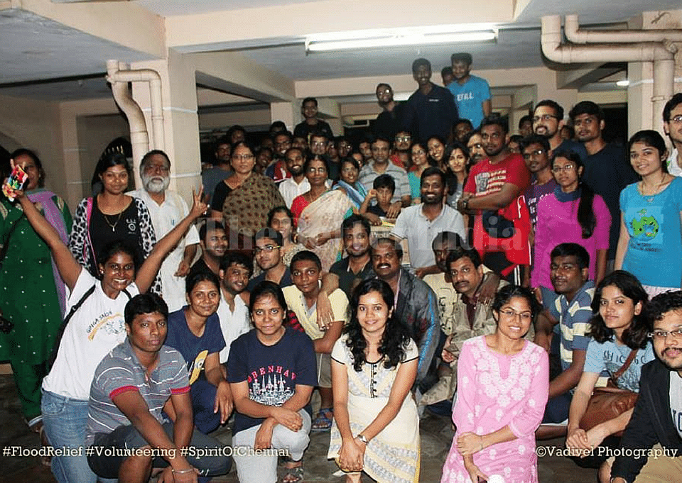 Geethapriya with the full team