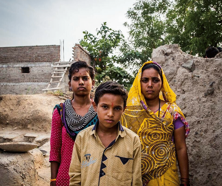Kiran Bodade (on the right) with her family #SaveFarmerFamilies