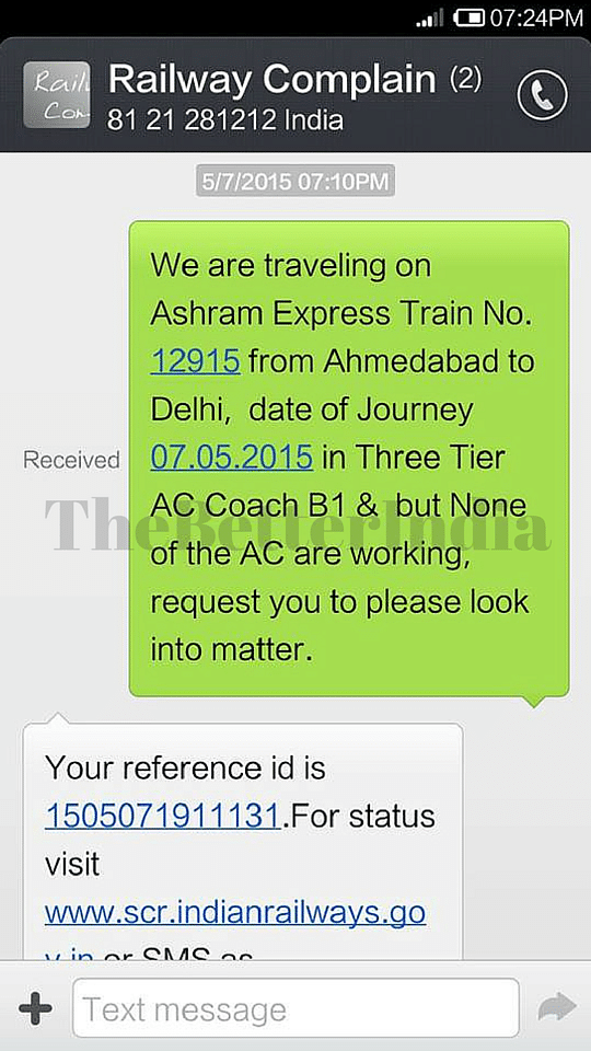 SMS to Indian Railway Complaint Number Helped a Passenger