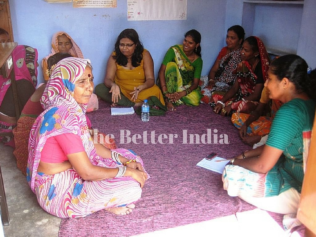 At the monthly meetings of the Rajasthan Mahila Kamgaar Union members get information on the various social schemes and how to tackle employer and police harassment. (Credit: Rakesh Kumar\WFS)