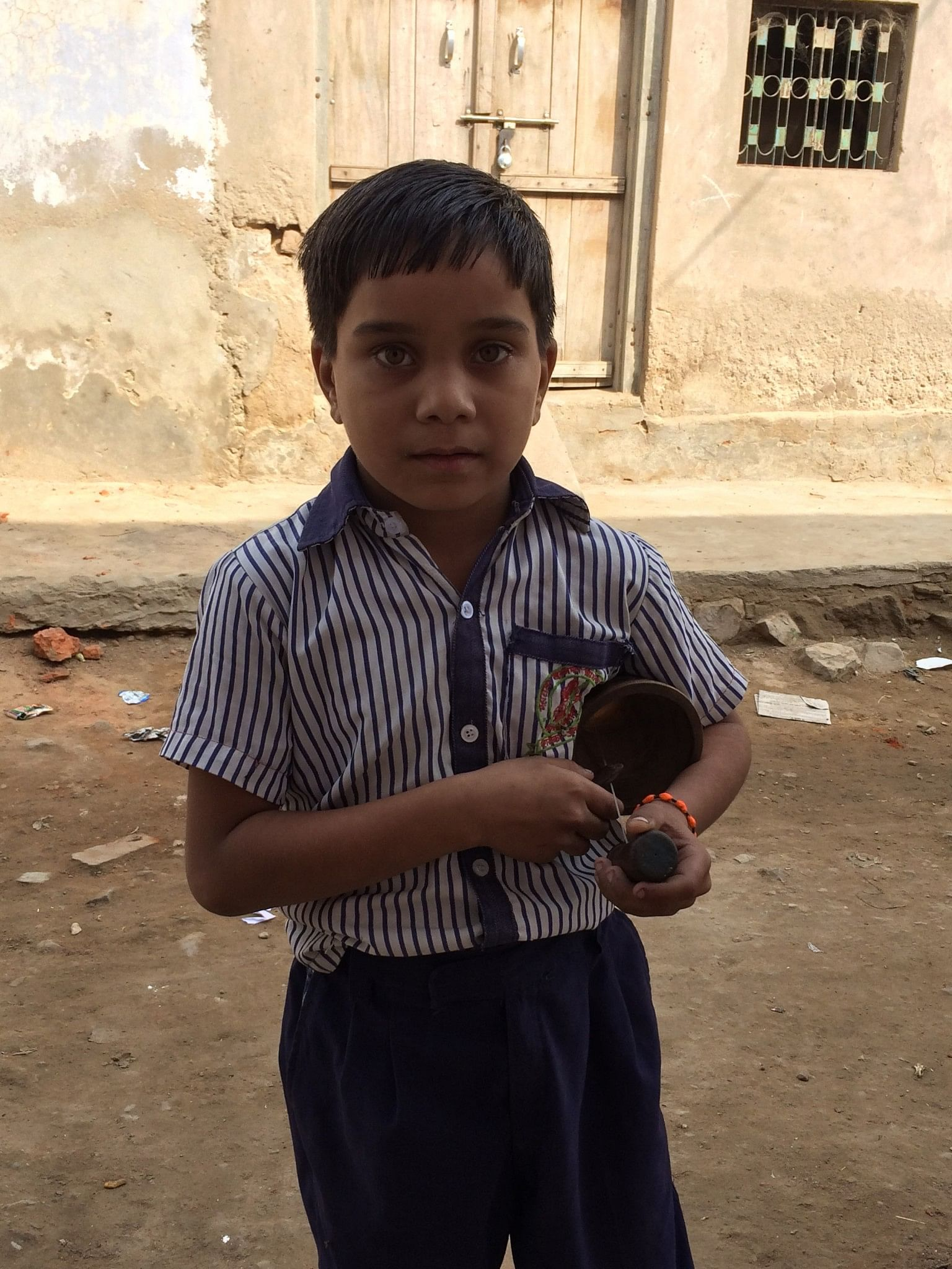 Eight-year-old Aman is the youngest bhapang player in the village. Photo source: Udita Chaturvedi