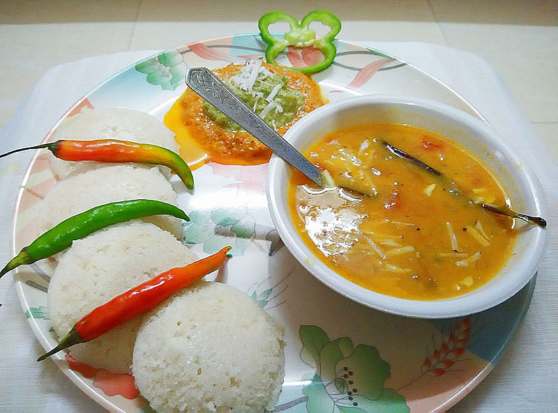 Sambhar served with idli