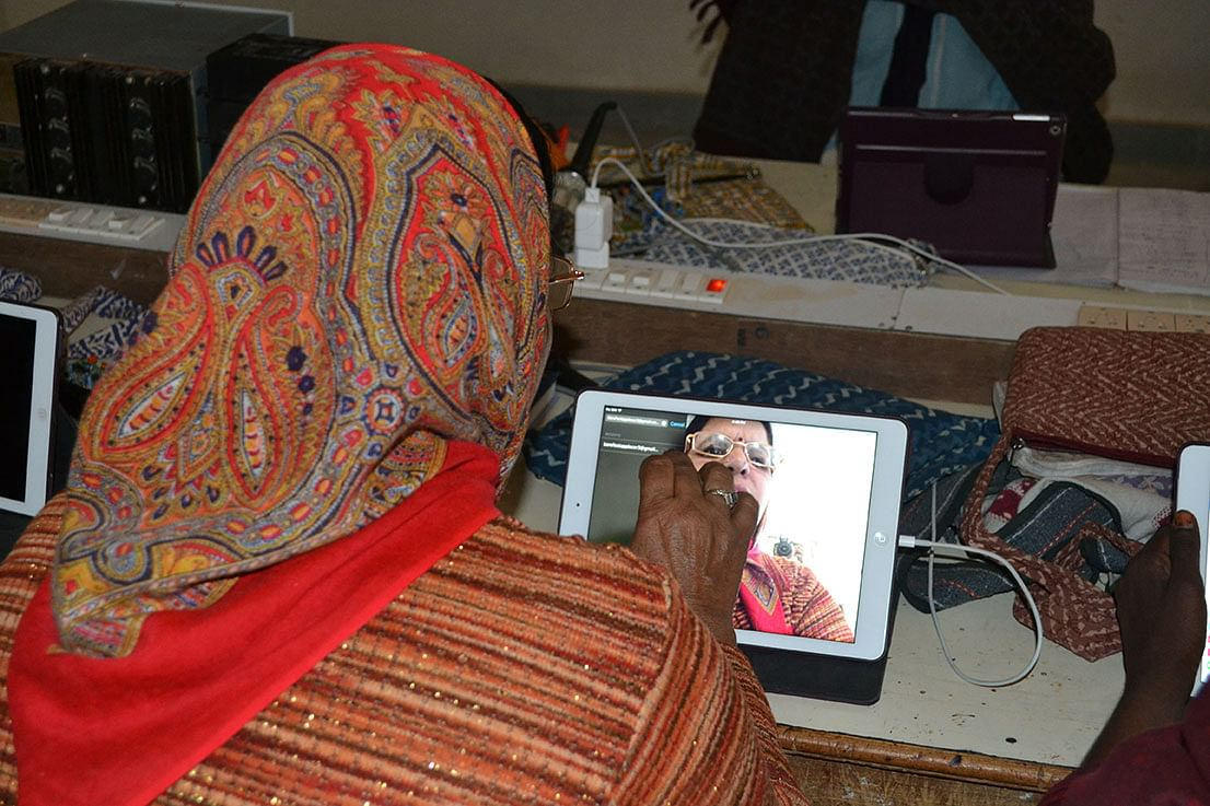 Women at Barefoot College are impressed with FaceTime. Photo: Udita Chaturvedi