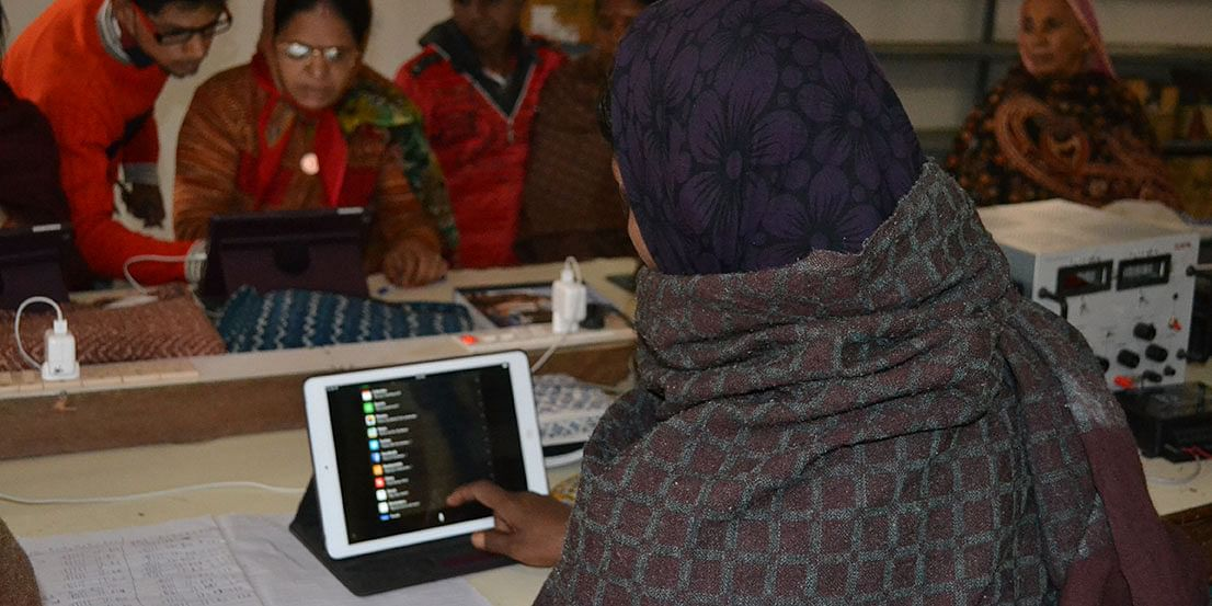 Women have shown great enthusiasm in learning how to use an iPad. Photo: Udita Chaturvedi