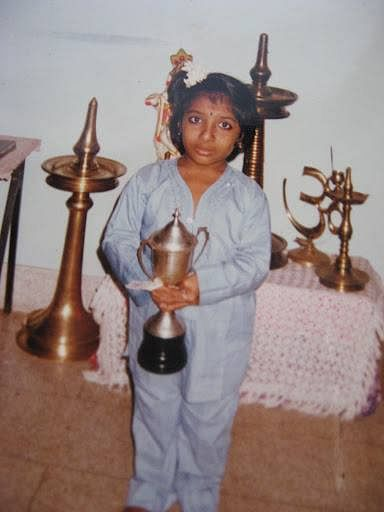 My first all rounder trophy in standard 5th