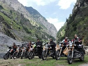 The women hopped on to their heavy-duty motor bikes and made their way from Dehradun, the state capital of Uttarakhand, towards the highest motorable pass at 18,399 ft above sea level.