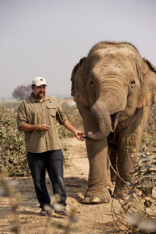 Kartick Satyanarayan with Elephant Laxmi