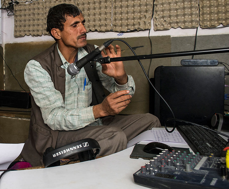 Norat Mal depends heavily on various websites and social media pages to curate content for his community radio. Photo: Mubeen Siddiqui