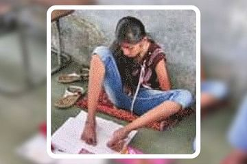 Shefali Jogani Writes Board Exam With Feet