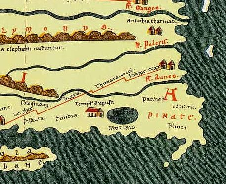 Muziris as shown in a 4th century map. Photo source: Wikimedia