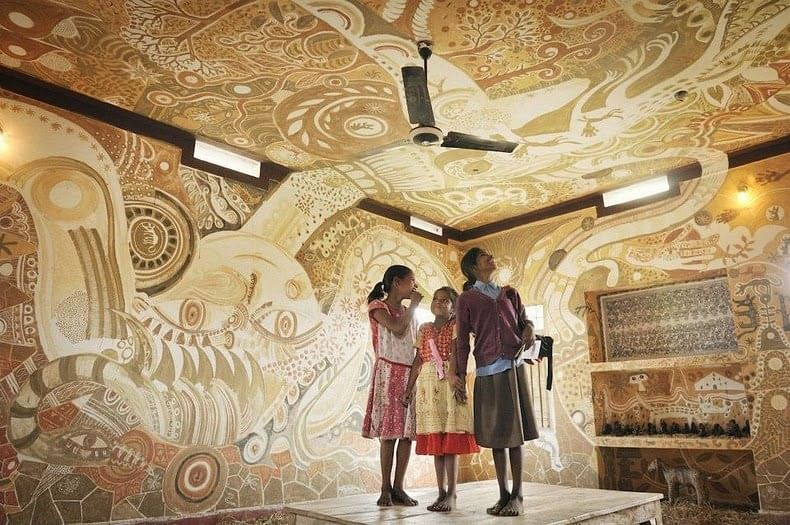 from India and Japan Transform the Walls of a Bihar School