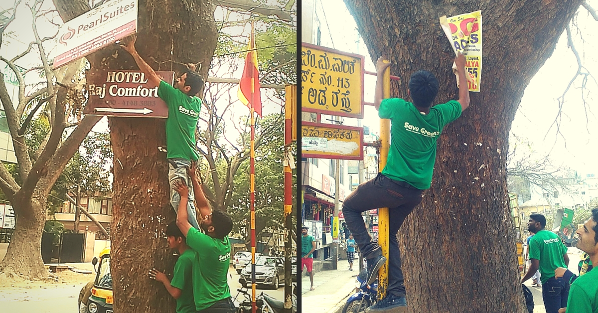 A Group in Bengaluru Protects Trees by Removing Nails & Posters from Them Every Sunday