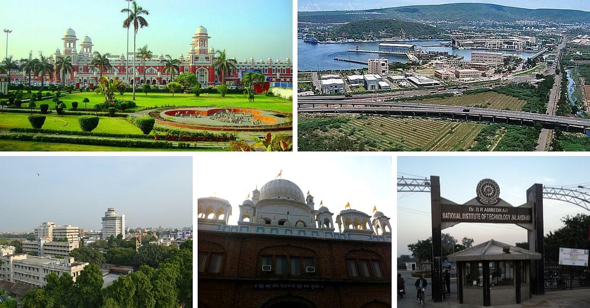 Clockwise from left: Lucknow, Visakhapatnam, Jalandhar, Ludhiana, Patna