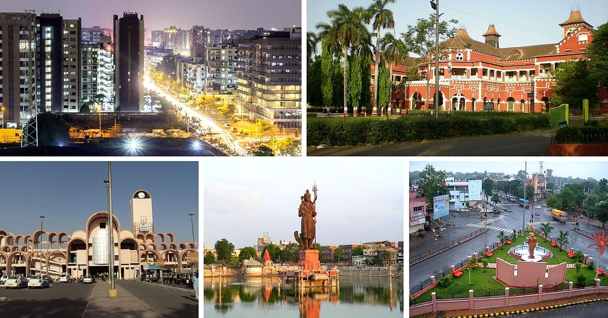 Clockwise from left: Surat, Nagpur, Aurangabad, Vadodara, Bhopal
