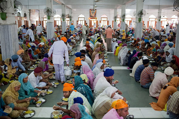 The free community kitchen at The Golden Temple feeds thousands of people daily.