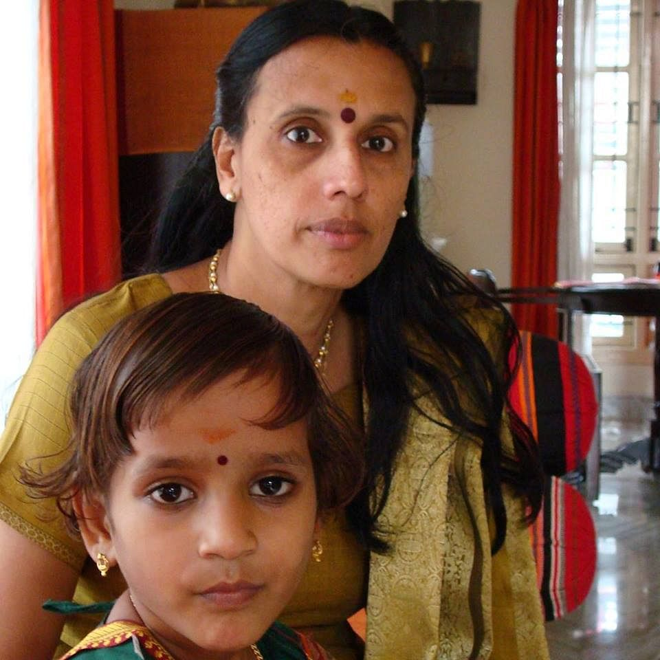 Suja Warrier and adopted daughter Ameya