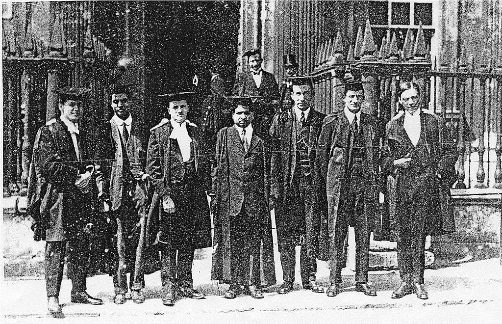 Srinivasa Ramanujan (centre) with other scientists at Trinity College at the University of Cambridge.