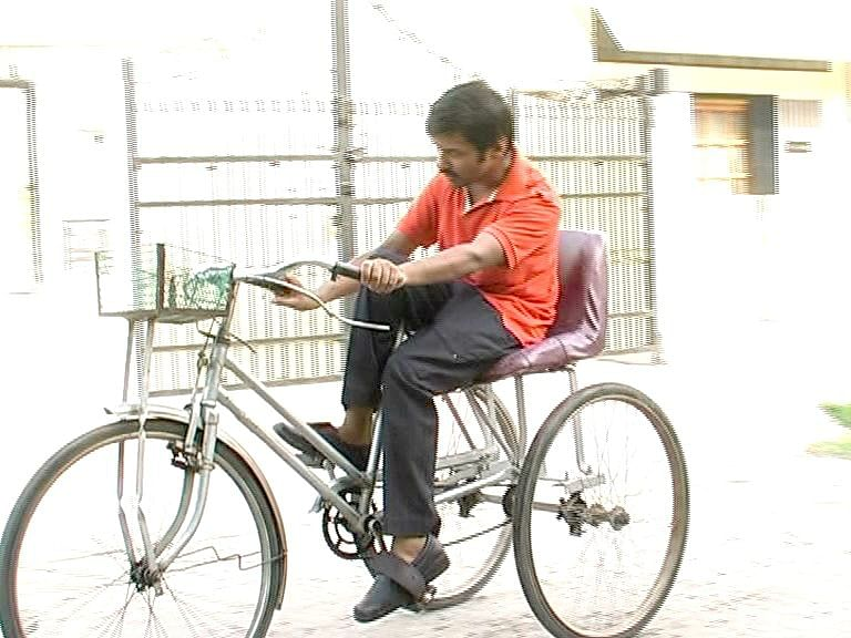 Riitesh on the trike he invented himself