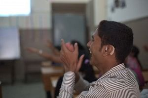 A hearing disabled youth enjoying class at one of the Pankh centres
