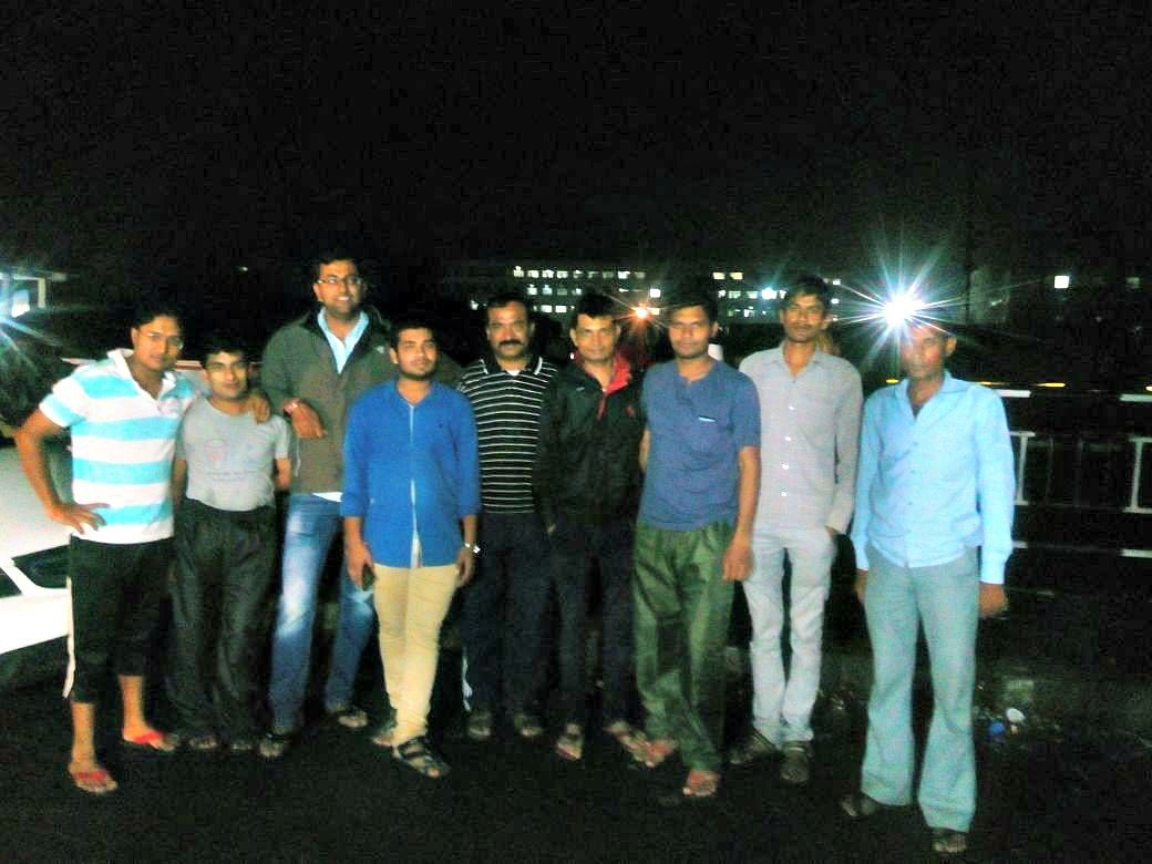 Rakt Archana members after donating blood at 1 am.