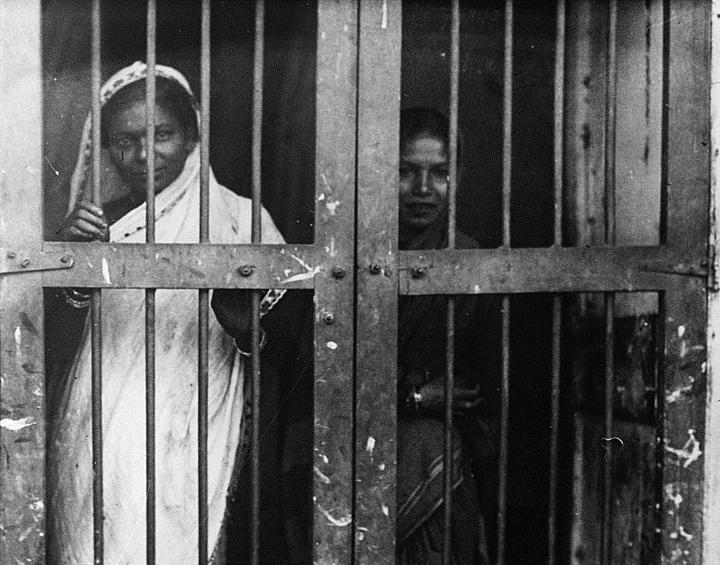 Prostitutes in the red light district of pre-Independence Bombay.