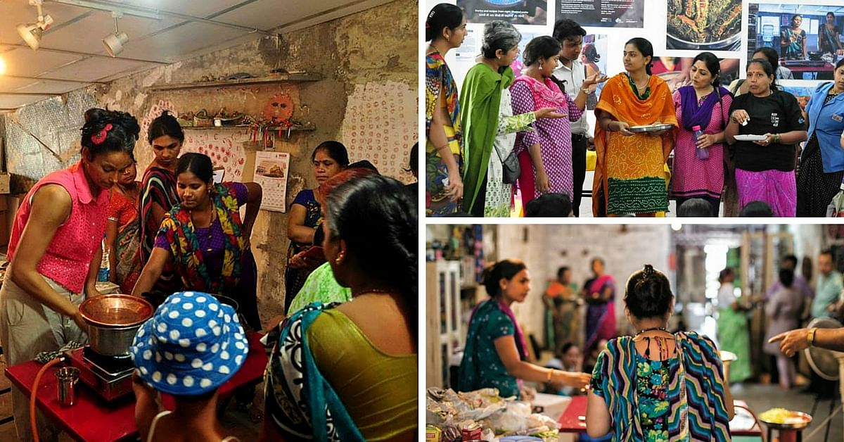 Left: A day at the Dharavi Food Project; Top right: Display of the Dharavi Food Project at Dharavi Biennale, 15 Feb-7 Mar, 2015; Bottom right: Rizwana Qureshi, one of the participants of the Dharavi Food Project.