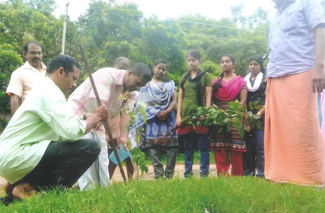 Participating ina tree plantation drive
