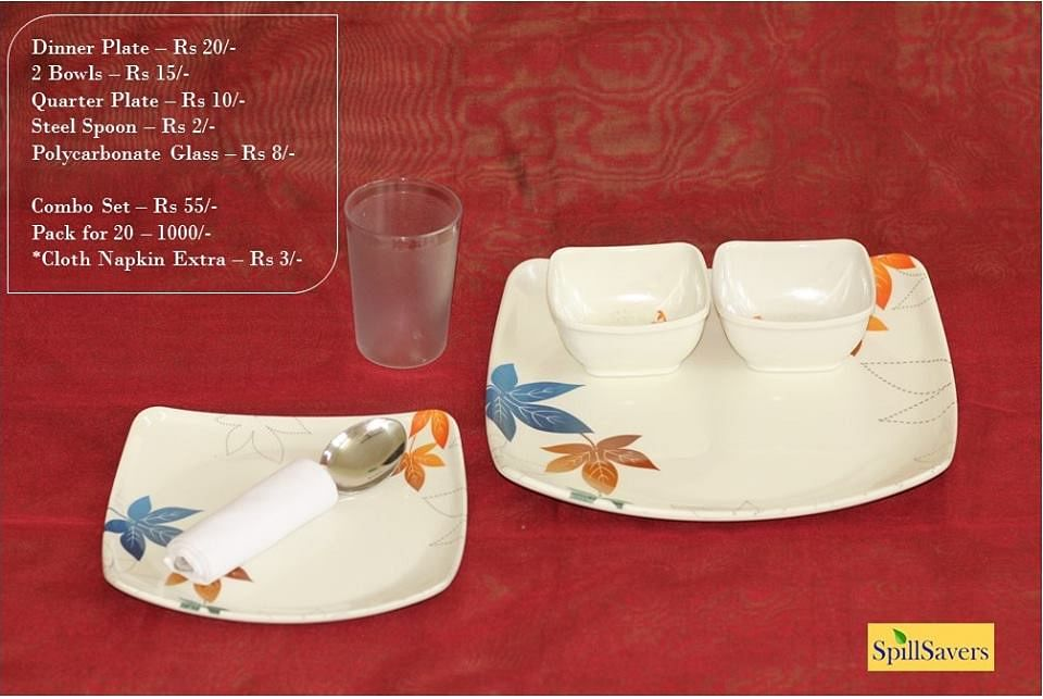 An entire dinner set is made available by SpillSavers