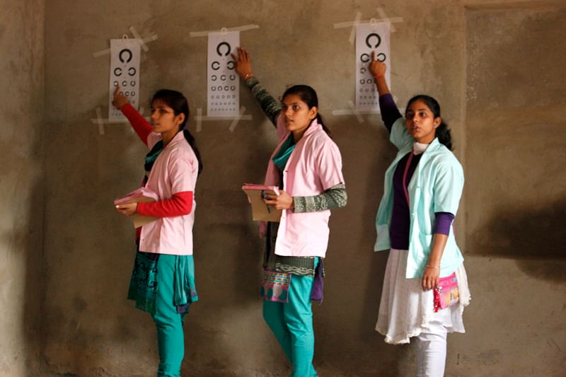 Girls undergoing the Optometrist Training