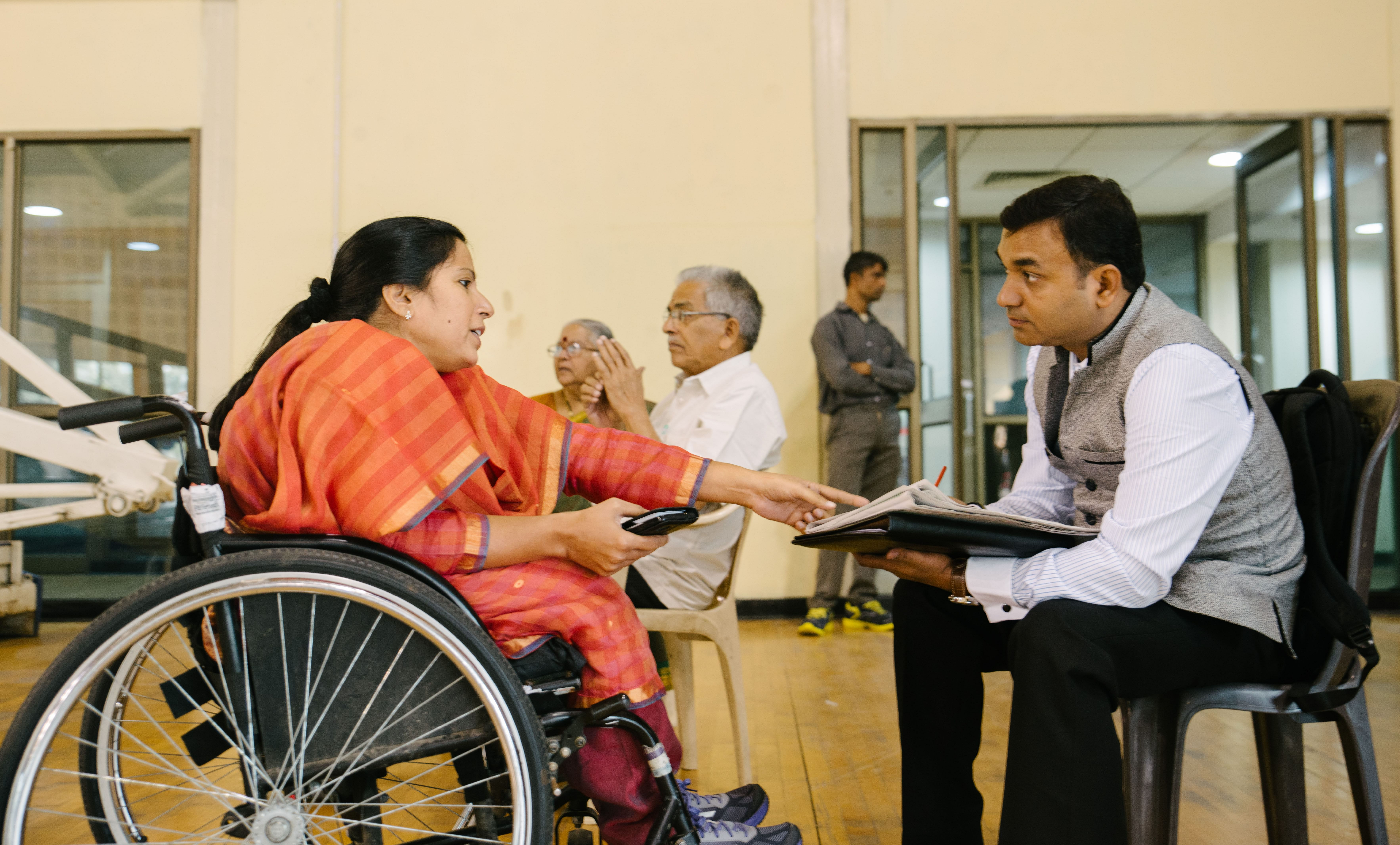 Madhavi Latha, the president of WBFI, in a discussion with a member from the International Committee of the Red Cross, on the inaugural day of the tournament.