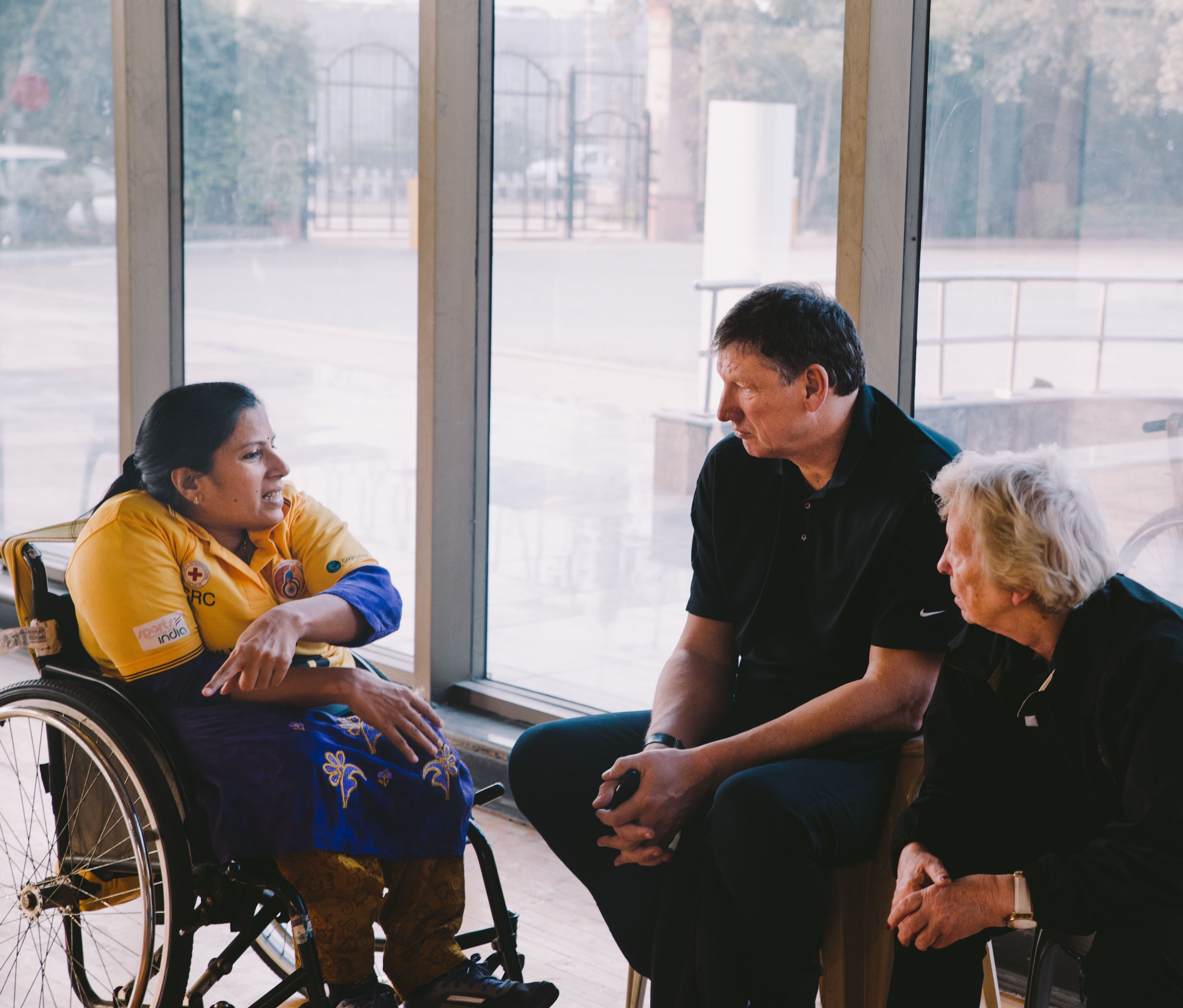 Madhavi in a discussion with the President- Mr.Ulf Mehrens and the Secretary General- Ms.Maureen Orchard from the IWBF.