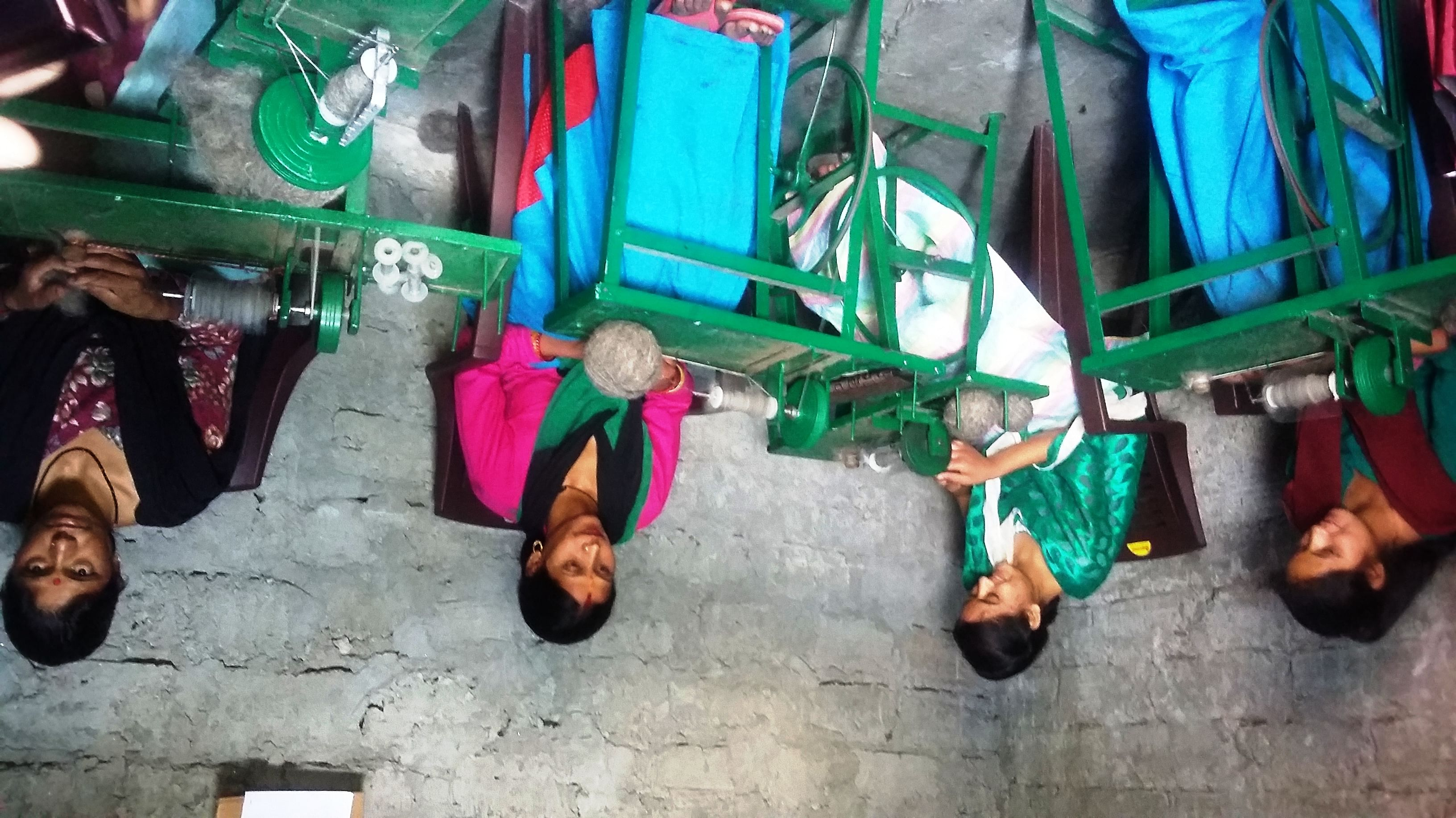 The spinning centre at Kalimath village has six machines where 10 women come and work by rotation. (Credit: Nitin Jugran Bahuguna\WFS)