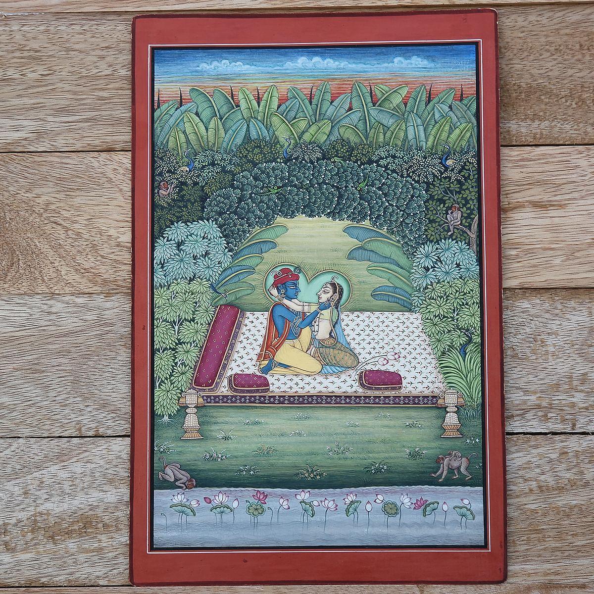 India_Kala_Indian_Handicrafts_Radha_Krishna_Miniature Painting