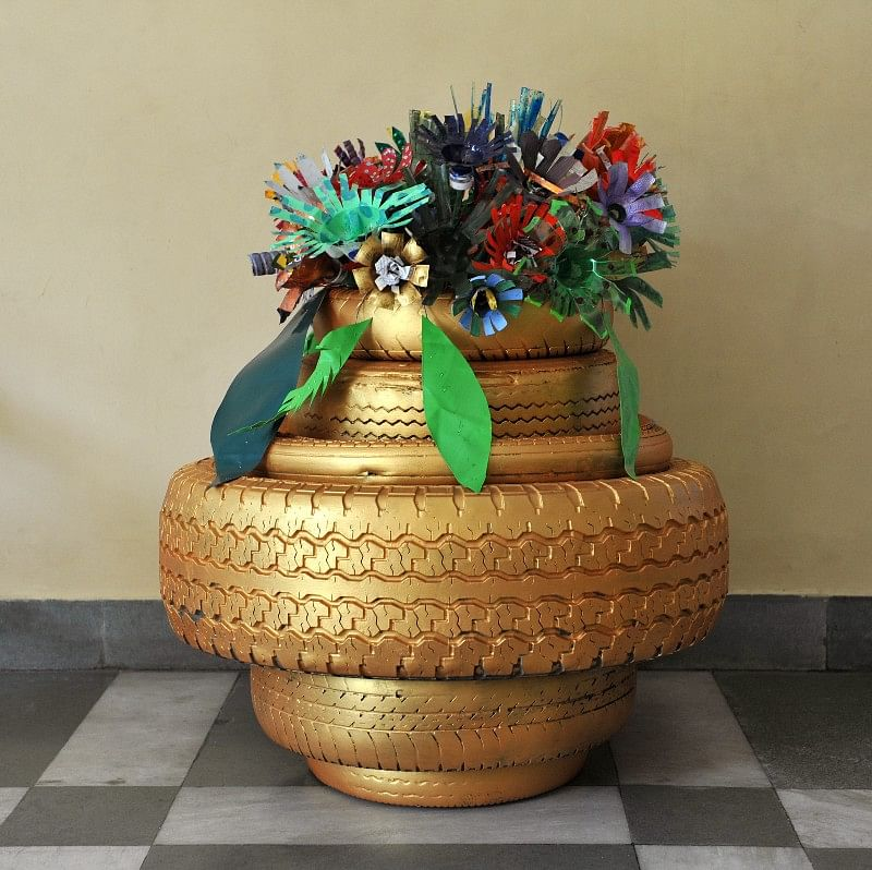 Upcycled art made by children using Garbology (WasteLess)