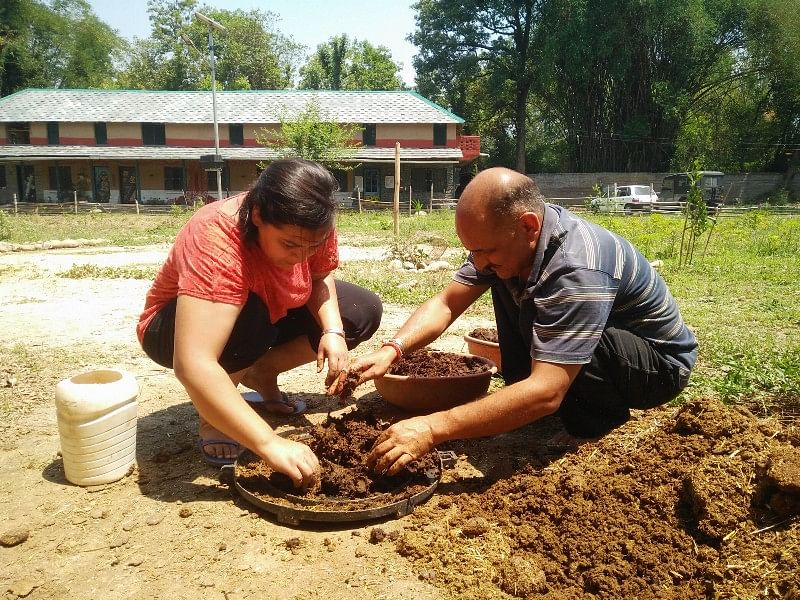 Removing earthworms from the dung is the next step
