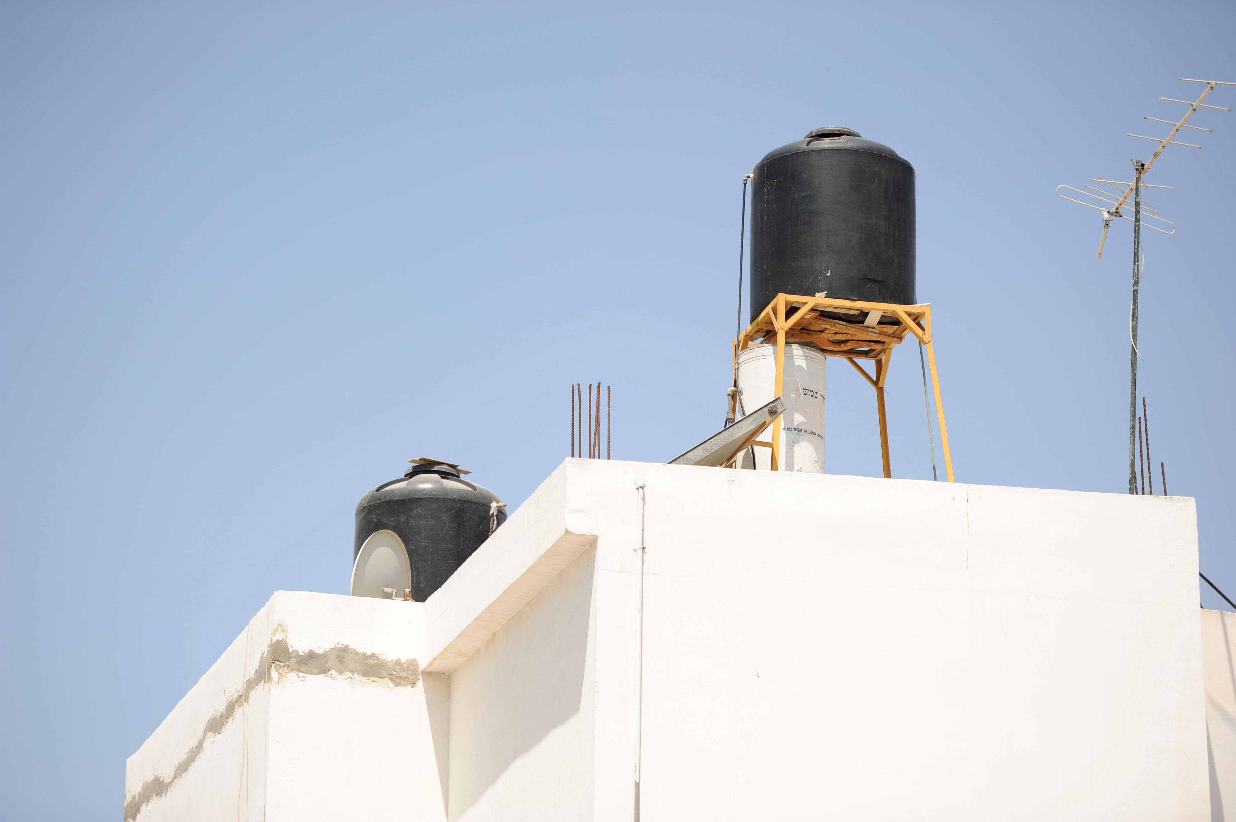 Roof water cistern in Jenin, West Bank