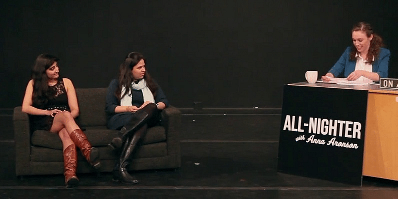 Vaasvi (right) and Kasturi (left) being interviewed on Princeton University's All Nighter with Anna Aronson show.