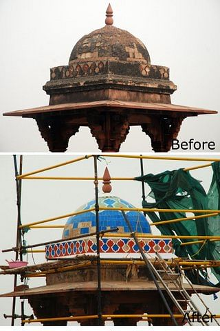 The canopy before and after restoration work, with specialized glazed tiles