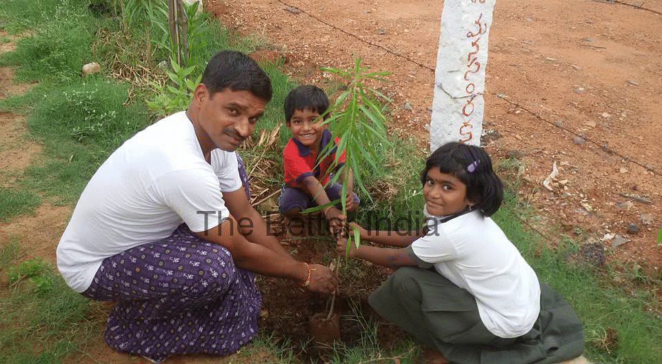 Harikrishna Kuragayala planting saplings with his children