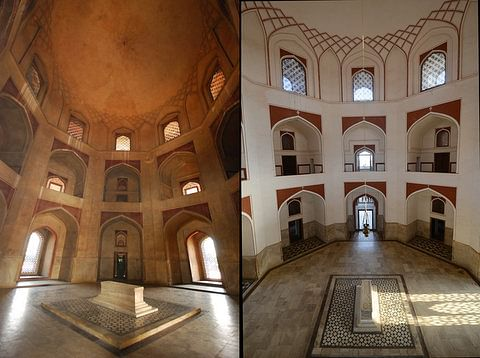 The main hall of Humayun's tomb, before and after restoration work