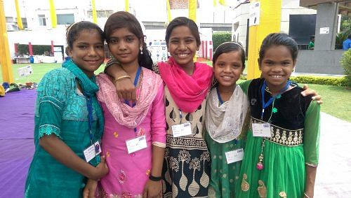 Namita (leftmost) with friends at a creative art workshop