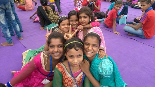 Namita (rightmost) with her friends at a creative workshop for children in difficult circumstances