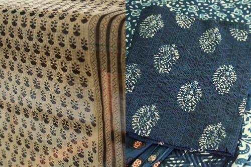 (L) Coloured Bagru motifs on a cream or dyed ground (R) Mud-resist dabu print on a natural indigo ground