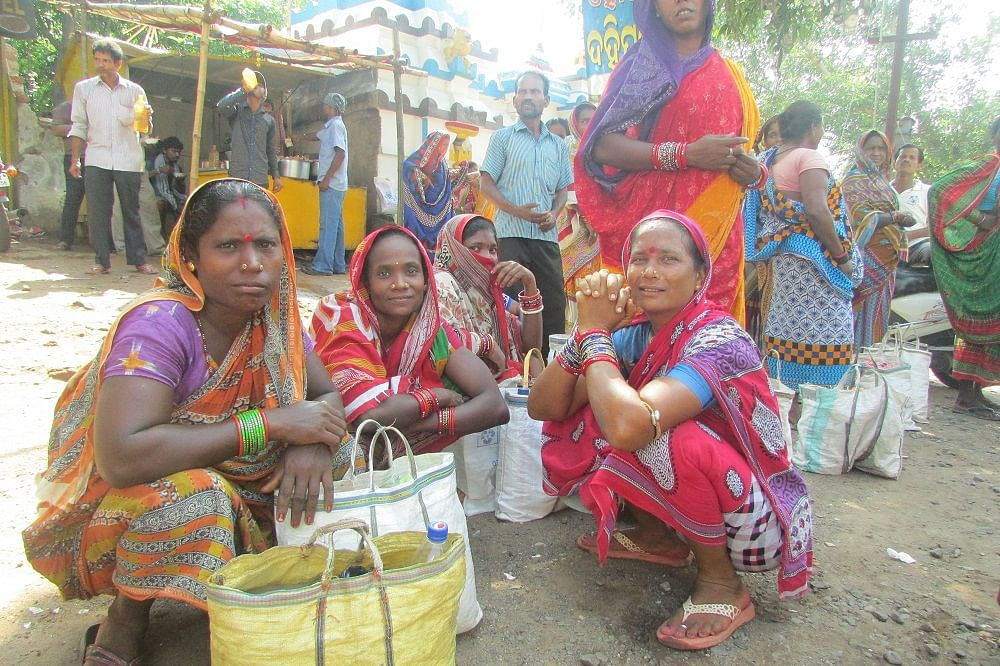 Most women still work as unskilled daily wagers, commuting daily from the fringes of the city to the labour 'nakas' (markets) around Bhubaneswar where contractors come to hire. (Credit: Rakhi Ghosh\WFS)