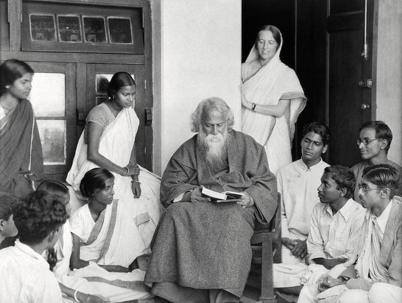 Rabindranath Tagore and Students, Santiniketan, 1929.